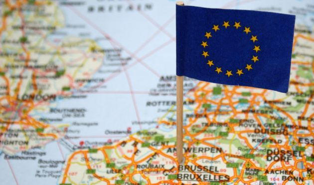 European Union flag on europe map